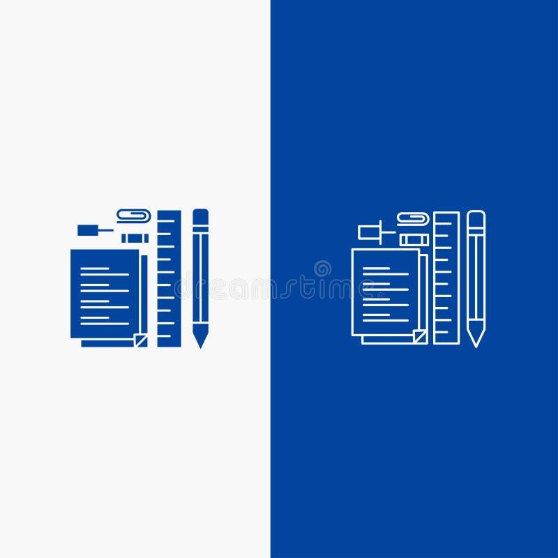 Bandera azul inmóvil, del lápiz, de la pluma, de la libreta, de Pin Line y del Glyph del icono sólido de bandera del icono sólido libre illustration
