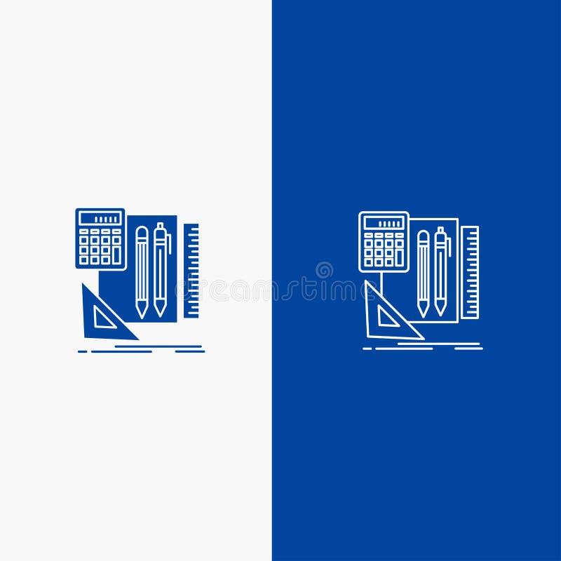 Bandera azul inmóvil, del libro, de la calculadora, de Pen Line y del Glyph del icono sólido de bandera del icono sólido azul de  libre illustration