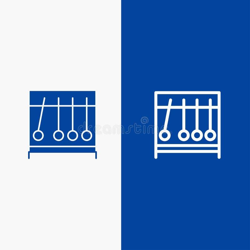Bandera azul perpetua, del movimiento, médica, de la medicina de la línea y del Glyph del icono sólido de bandera del icono sólid ilustración del vector