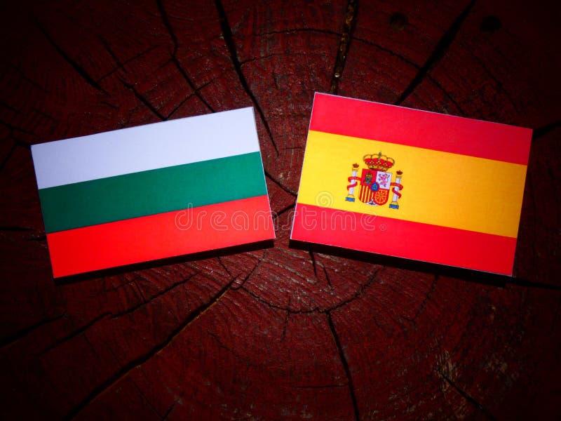 Bandera búlgara con la bandera española en un tocón de árbol fotografía de archivo libre de regalías