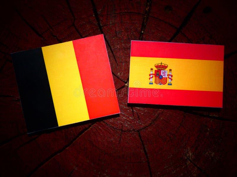 Bandera belga con la bandera española en un tocón de árbol fotos de archivo libres de regalías