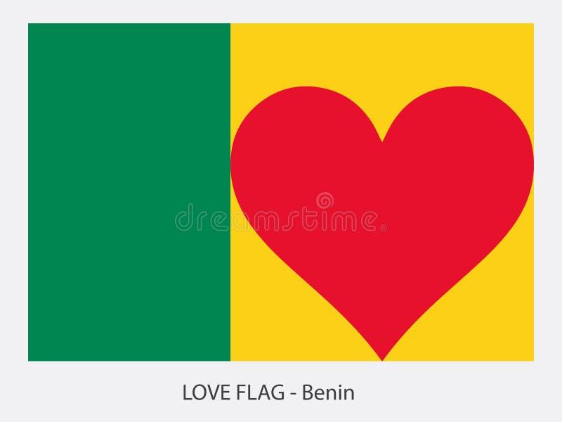 Bandera Benin del amor ilustración del vector