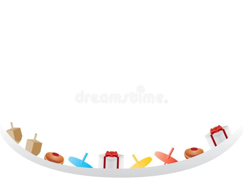 Bandera blanca de Jánuca con el símbolo del día de fiesta stock de ilustración