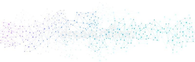 Bandera blanca de la comunicación global con la red colorida stock de ilustración