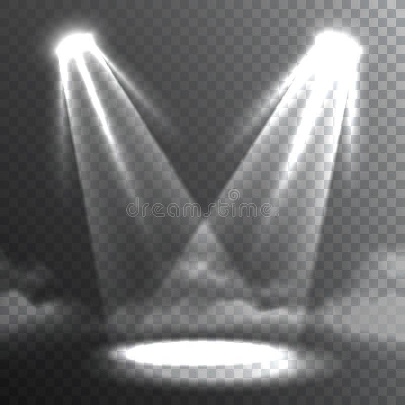 Bandera blanca de la reunión de dos haces luminosos ilustración del vector