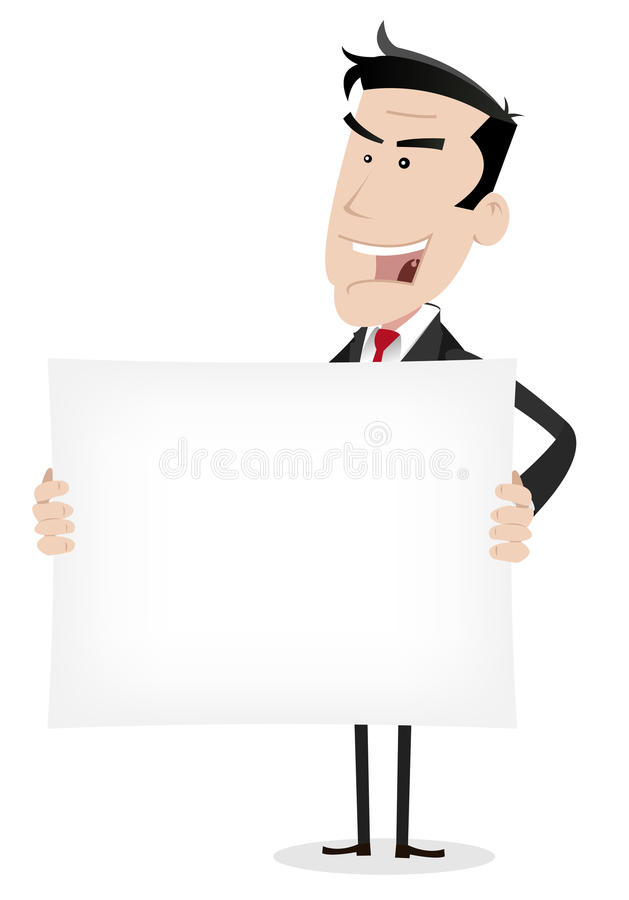 Bandera blanca del hombre de negocios stock de ilustración