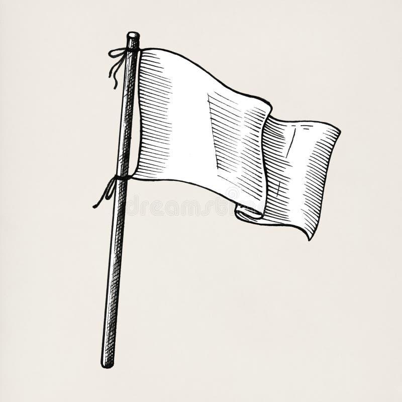 Bandera blanca dibujada mano aislada en fondo ilustración del vector