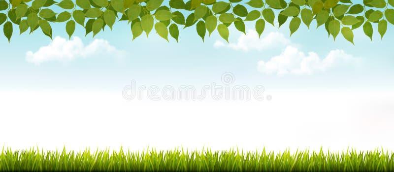 Bandera blanca larga de la cerca con la hierba y las hojas libre illustration