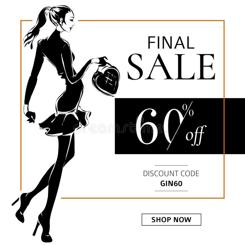 Bandera blanco y negro de la venta de la moda con la silueta de la moda de la mujer, plantilla social del web de los anuncios de  ilustración del vector