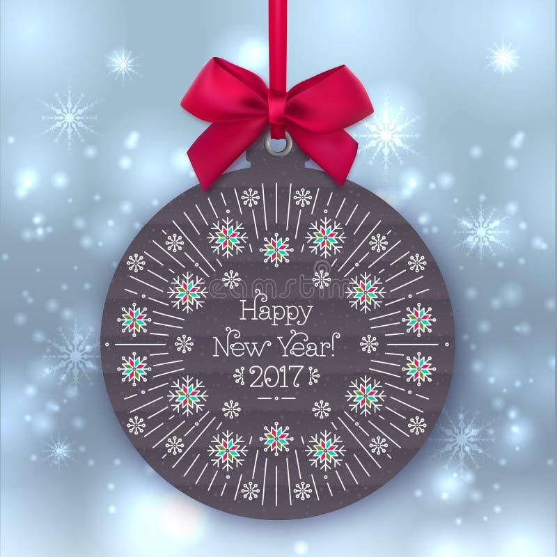 Bandera 2017, bola de la Feliz Año Nuevo de la Navidad, saludando la etiqueta stock de ilustración