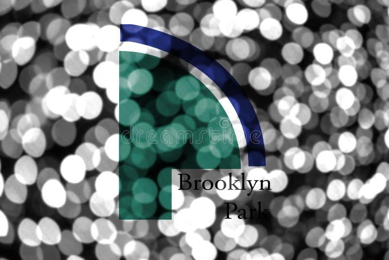 Bandera borrosa abstracta del bokeh de Brooklyn Park, Minnesota La Navidad, Año Nuevo y bandera del concepto del día nacional Los stock de ilustración