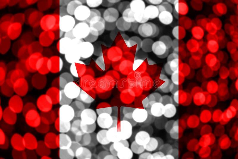 Bandera borrosa abstracta del bokeh de Canadá La Navidad, Año Nuevo y bandera del concepto del día nacional stock de ilustración