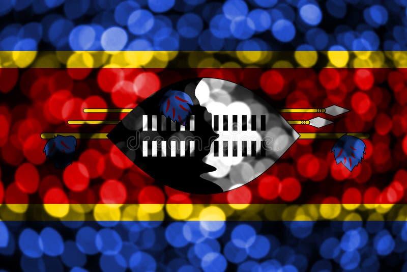 Bandera borrosa abstracta del bokeh de Swazilandia La Navidad, Año Nuevo y bandera del concepto del día nacional stock de ilustración