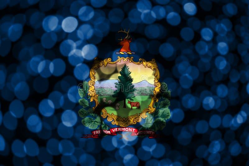 Bandera borrosa abstracta del bokeh de Vermont La Navidad, Año Nuevo y bandera del concepto del día nacional Los Estados Unidos d ilustración del vector