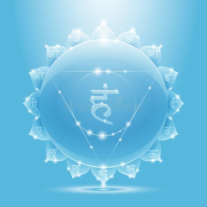 Bandera brillante azul clara del chakra del vishuddha fotografía de archivo