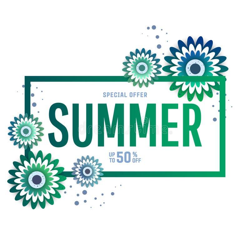 Bandera brillante de la venta del verano, cartel en diseño de moda stock de ilustración