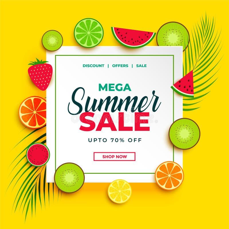 Bandera brillante de la venta del verano con el fondo de las frutas ilustración del vector