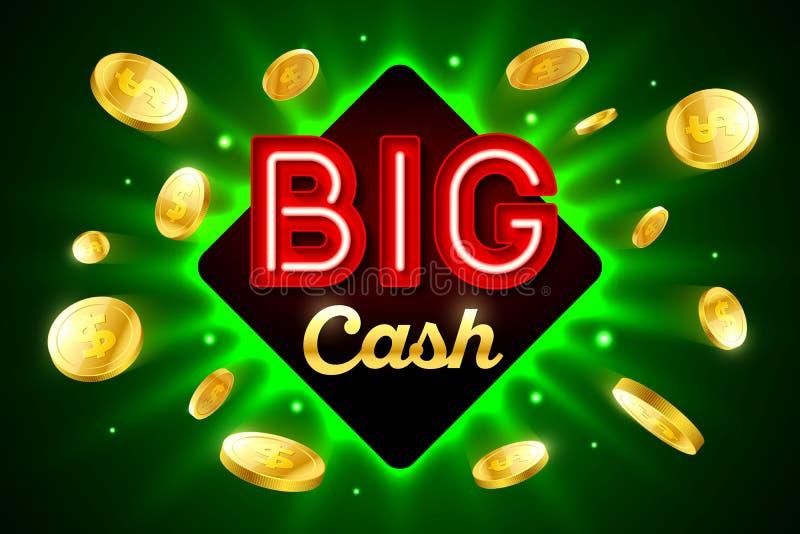 Bandera brillante del casino del efectivo grande stock de ilustración