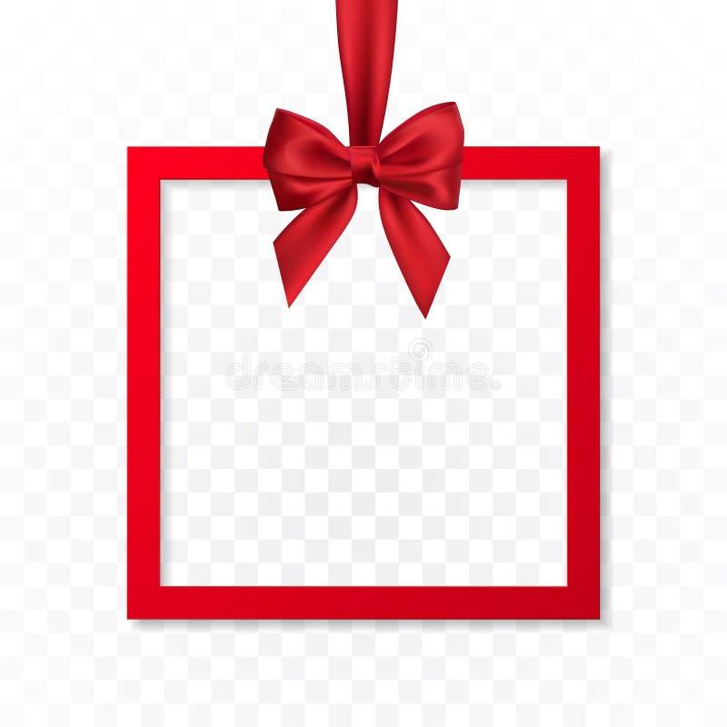 Bandera brillante del marco de caja de regalo de vacaciones que cuelga con la cinta roja y el arco sedoso en fondo transparente I libre illustration