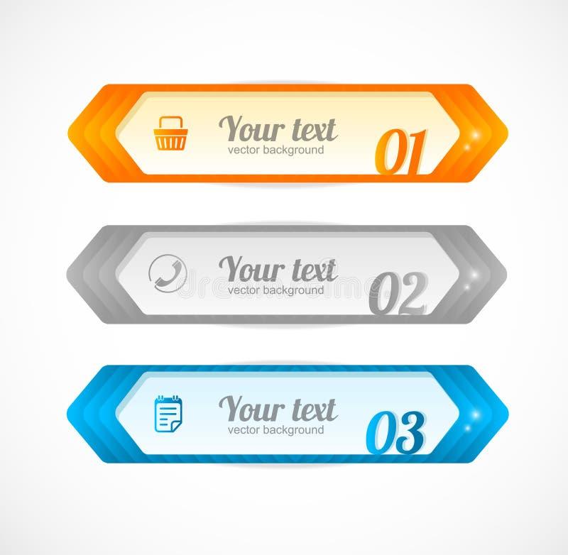 Bandera brillante moderna de la flecha de las opciones del infographics stock de ilustración