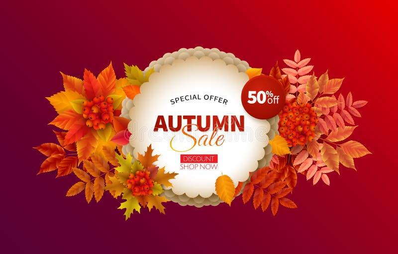 Bandera brillante para la venta del otoño stock de ilustración