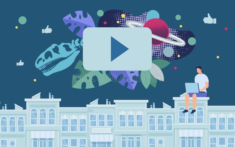 Bandera brillante que mira el vídeo educativo completamente stock de ilustración