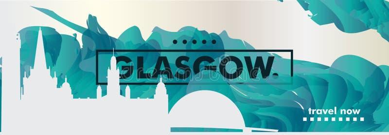 Bandera BRITÁNICA del vector de la pendiente de la ciudad del horizonte de Reino Unido Glasgow stock de ilustración