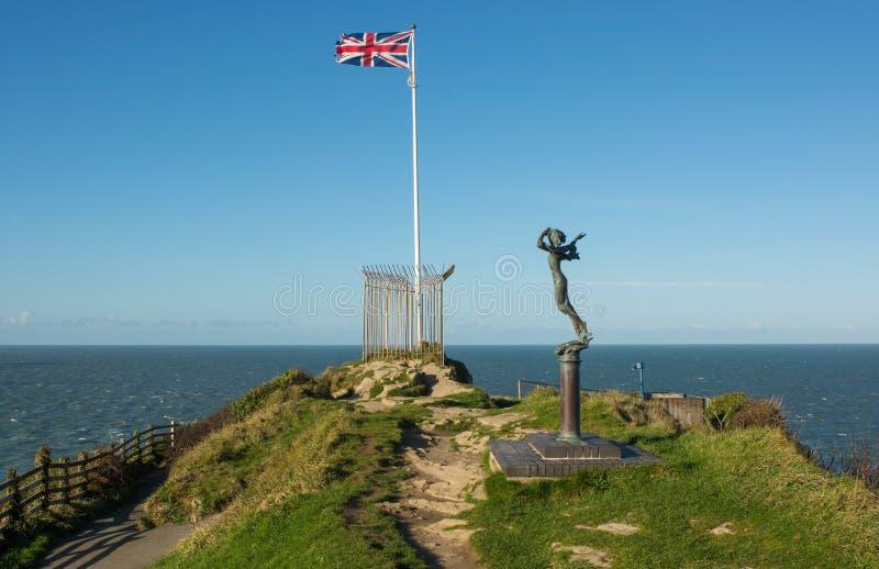 Bandera británica en Ilfracombe, Devon, Inglaterra imágenes de archivo libres de regalías