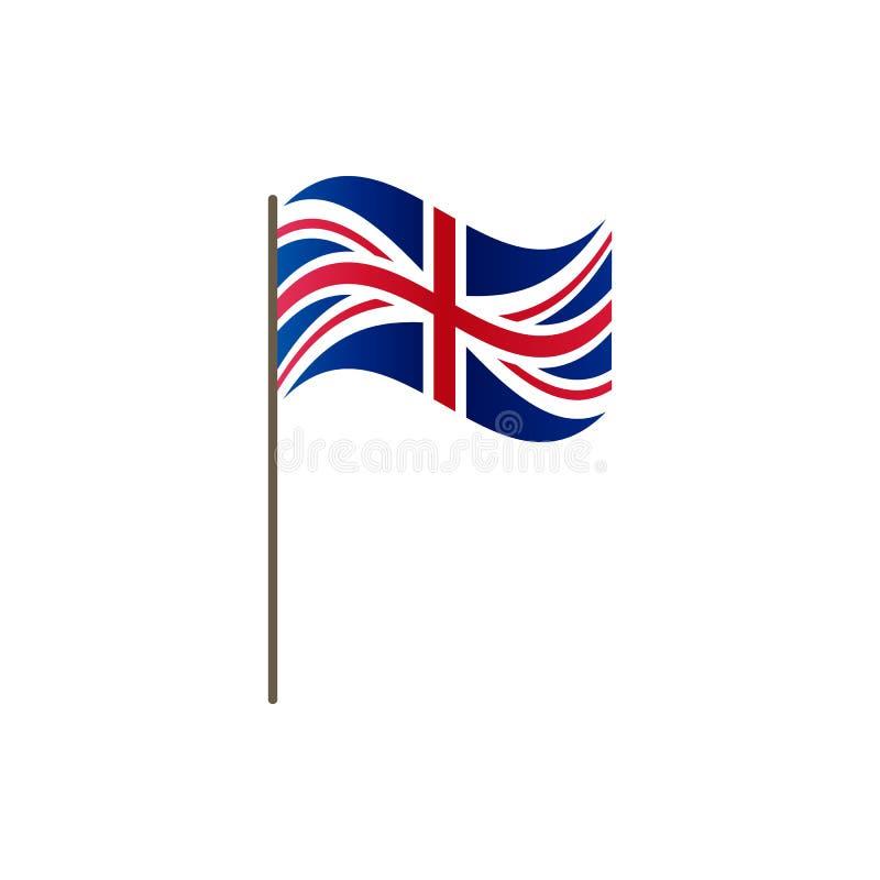 Bandera BRITÁNICA en la asta de bandera Colores y proporción oficiales correctamente El agitar de la bandera BRITÁNICA en asta de ilustración del vector