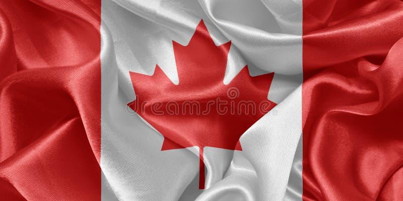 Bandera canadiense del satén foto de archivo libre de regalías
