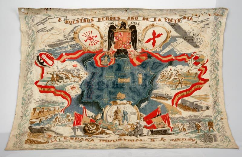 Bandera catalana bordada con los símbolos de Francoist Guerra civil española imagen de archivo libre de regalías