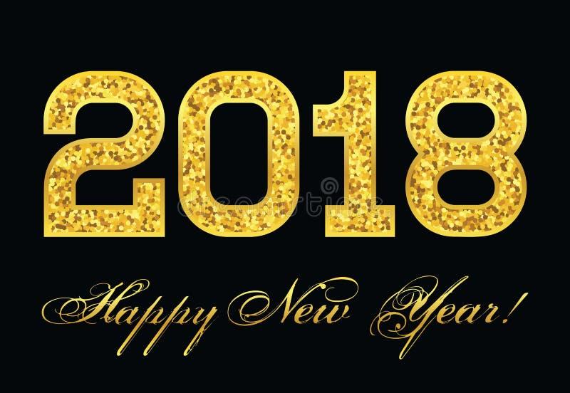Bandera celebradora en fondo negro con la enhorabuena en el Año Nuevo y la inscripción 2018 stock de ilustración