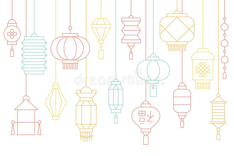 Bandera china de la linterna por Año Nuevo lunar y mediados de festival del otoño stock de ilustración