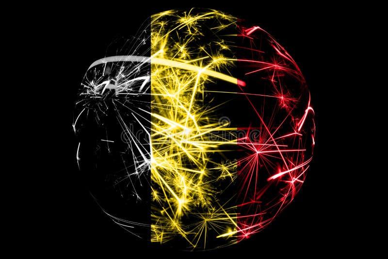 Bandera chispeante abstracta de Bélgica, concepto de la bola del día de fiesta de la Navidad aislada en fondo negro ilustración del vector