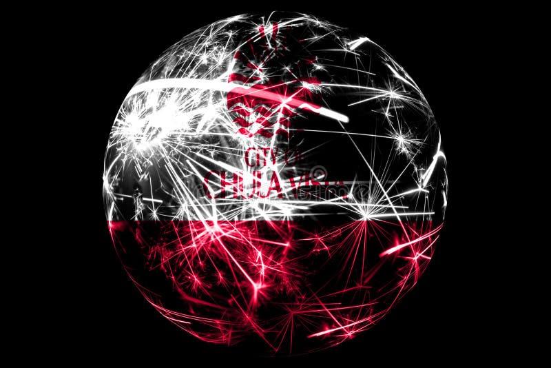 Bandera chispeante de Chula Vista abstracto, California Concepto americano del día de fiesta de la bola de la Navidad aislado en  ilustración del vector