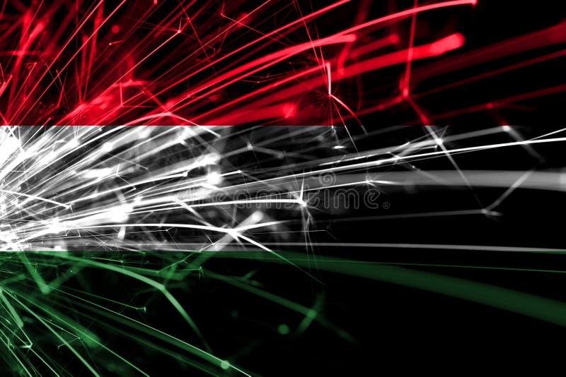 Bandera chispeante de los fuegos artificiales abstractos de Hungría Concepto del Año Nuevo, de la Navidad y del día nacional stock de ilustración