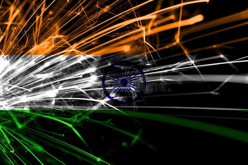 Bandera chispeante de los fuegos artificiales abstractos de la India Concepto del Año Nuevo, de la Navidad y del día nacional ilustración del vector