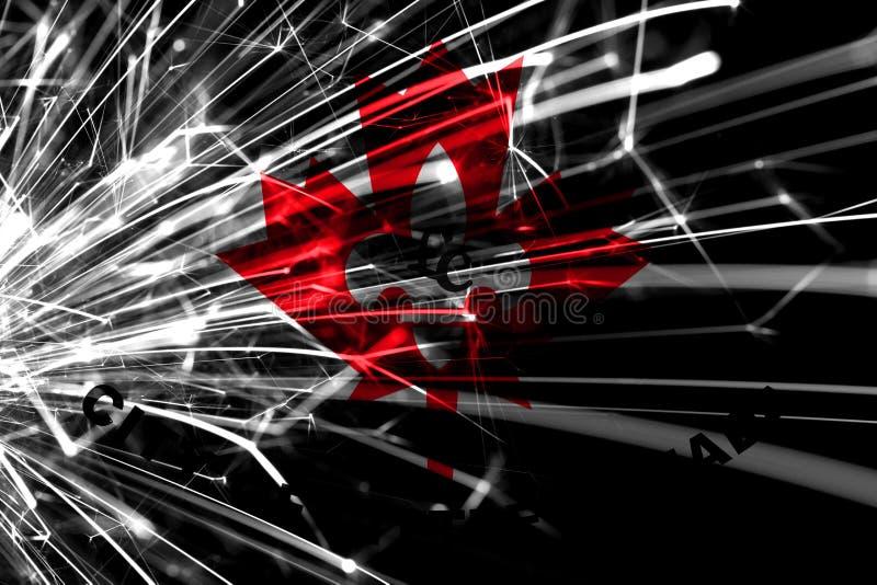 Bandera chispeante de los fuegos artificiales abstractos de poco Canadá, Minnesota Concepto del Año Nuevo, de la Navidad y del dí stock de ilustración