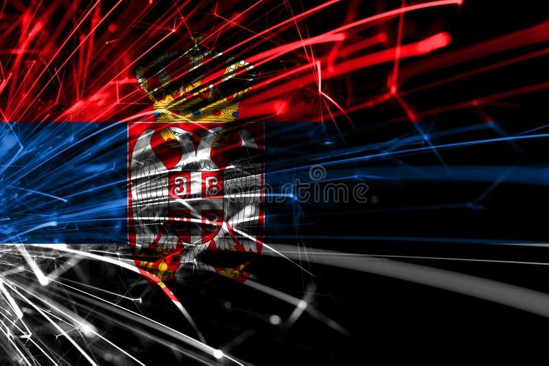 Bandera chispeante de los fuegos artificiales abstractos de Serbia Concepto del Año Nuevo, de la Navidad y del día nacional ilustración del vector
