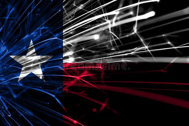 Bandera chispeante de los fuegos artificiales abstractos de Tejas Concepto del Año Nuevo, de la Navidad y del día nacional Los Es imágenes de archivo libres de regalías