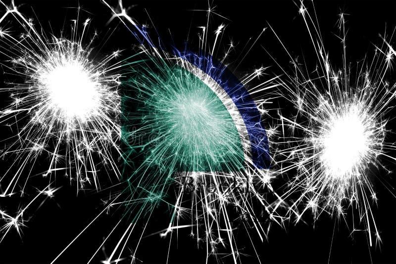 Bandera chispeante de los fuegos artificiales de Brooklyn Park, Minnesota Concepto del Año Nuevo, de la Navidad y del día naciona libre illustration