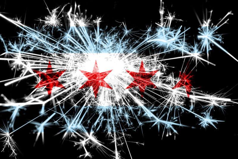 Bandera chispeante de los fuegos artificiales de Chicago, Illinois Concepto del Año Nuevo 2019 y de la fiesta de Navidad imagenes de archivo