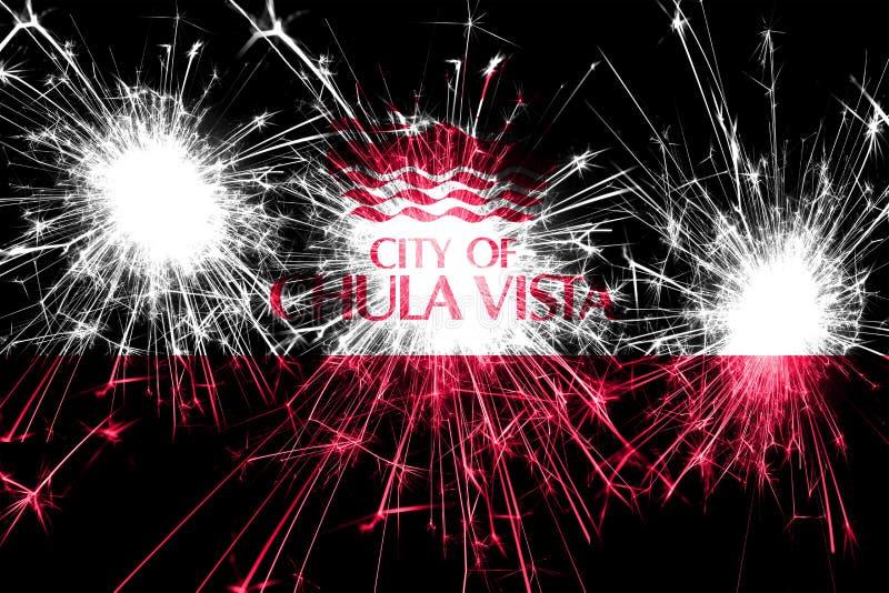 Bandera chispeante de los fuegos artificiales de Chula Vista, California Concepto del Año Nuevo, de la Navidad y del día nacional stock de ilustración