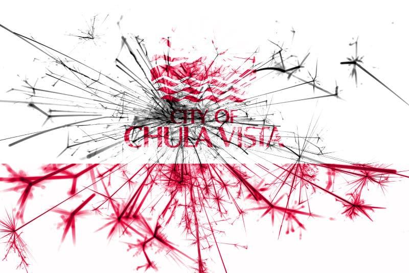Bandera chispeante de los fuegos artificiales de Chula Vista, California Concepto del Año Nuevo 2019 y de la fiesta de Navidad ilustración del vector