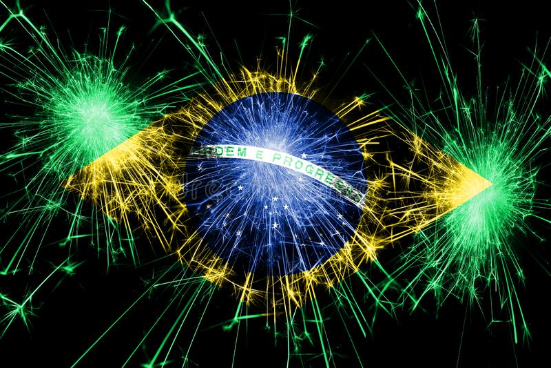 Bandera chispeante de los fuegos artificiales del Brasil Concepto del Año Nuevo, de la Navidad y del día nacional ilustración del vector