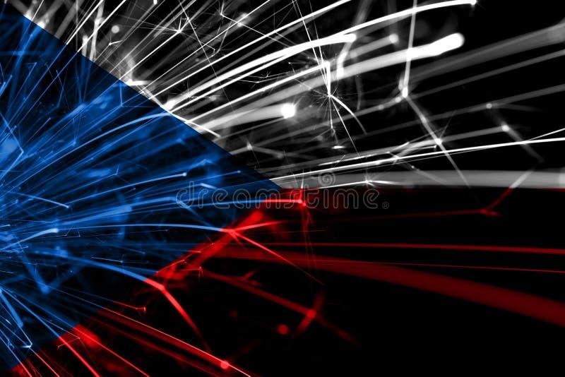 Bandera chispeante de los fuegos artificiales del extracto de la República Checa Concepto del Año Nuevo, de la Navidad y del día  stock de ilustración