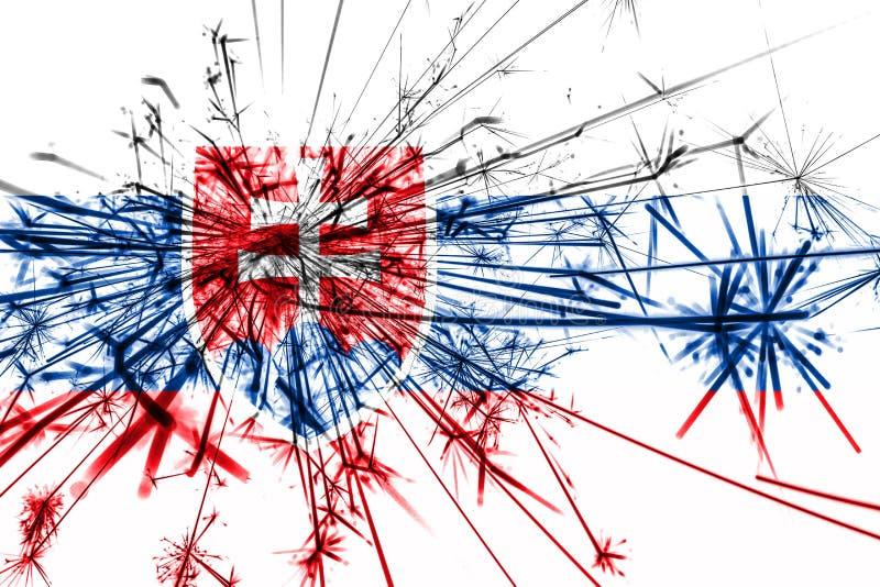 Bandera chispeante de los fuegos artificiales de Eslovaquia Concepto del Año Nuevo 2019 y de la fiesta de Navidad libre illustration