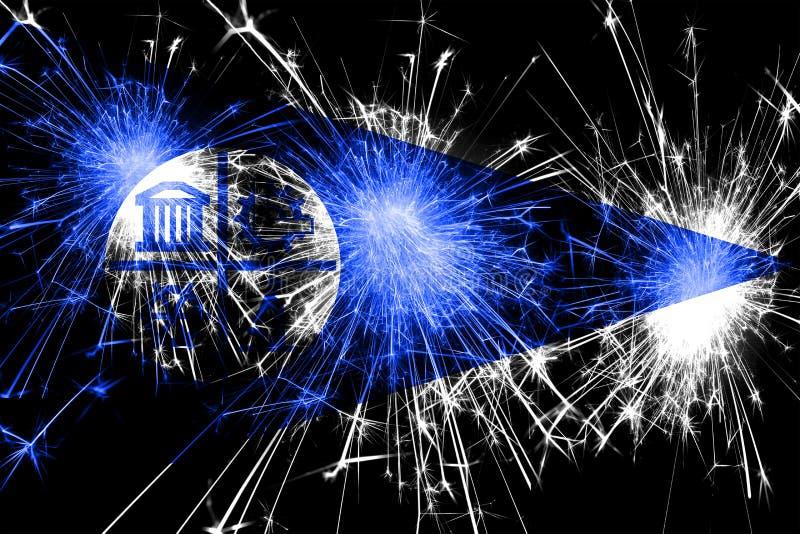 Bandera chispeante de los fuegos artificiales de Minneapolis, Minnesota Concepto del Año Nuevo, de la Navidad y del día nacional  ilustración del vector