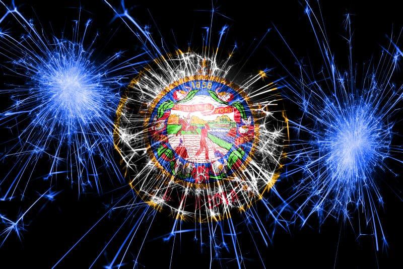 Bandera chispeante de los fuegos artificiales de Minnesota Concepto del Año Nuevo, de la Navidad y del día nacional Los Estados U ilustración del vector
