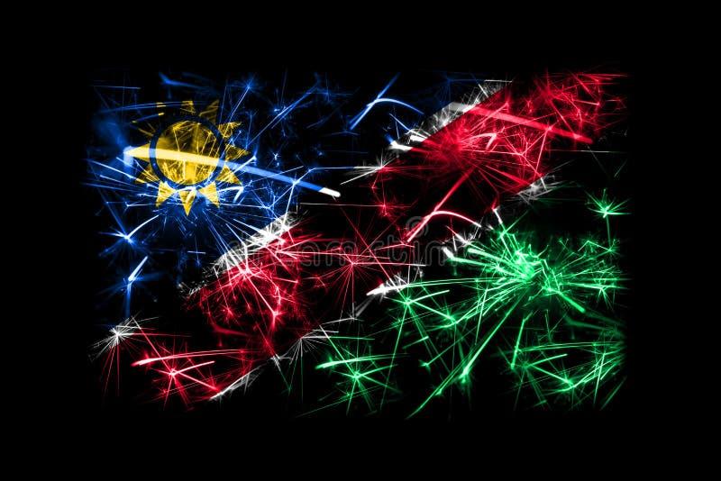 Bandera chispeante de los fuegos artificiales de Namibia Concepto del Año Nuevo 2019 y de la fiesta de Navidad libre illustration